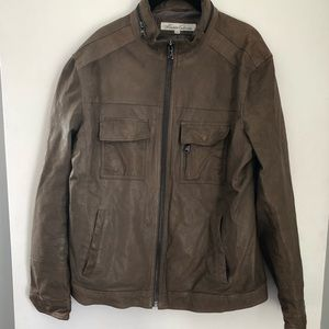Kenneth Cole leather motor jacket Sz L